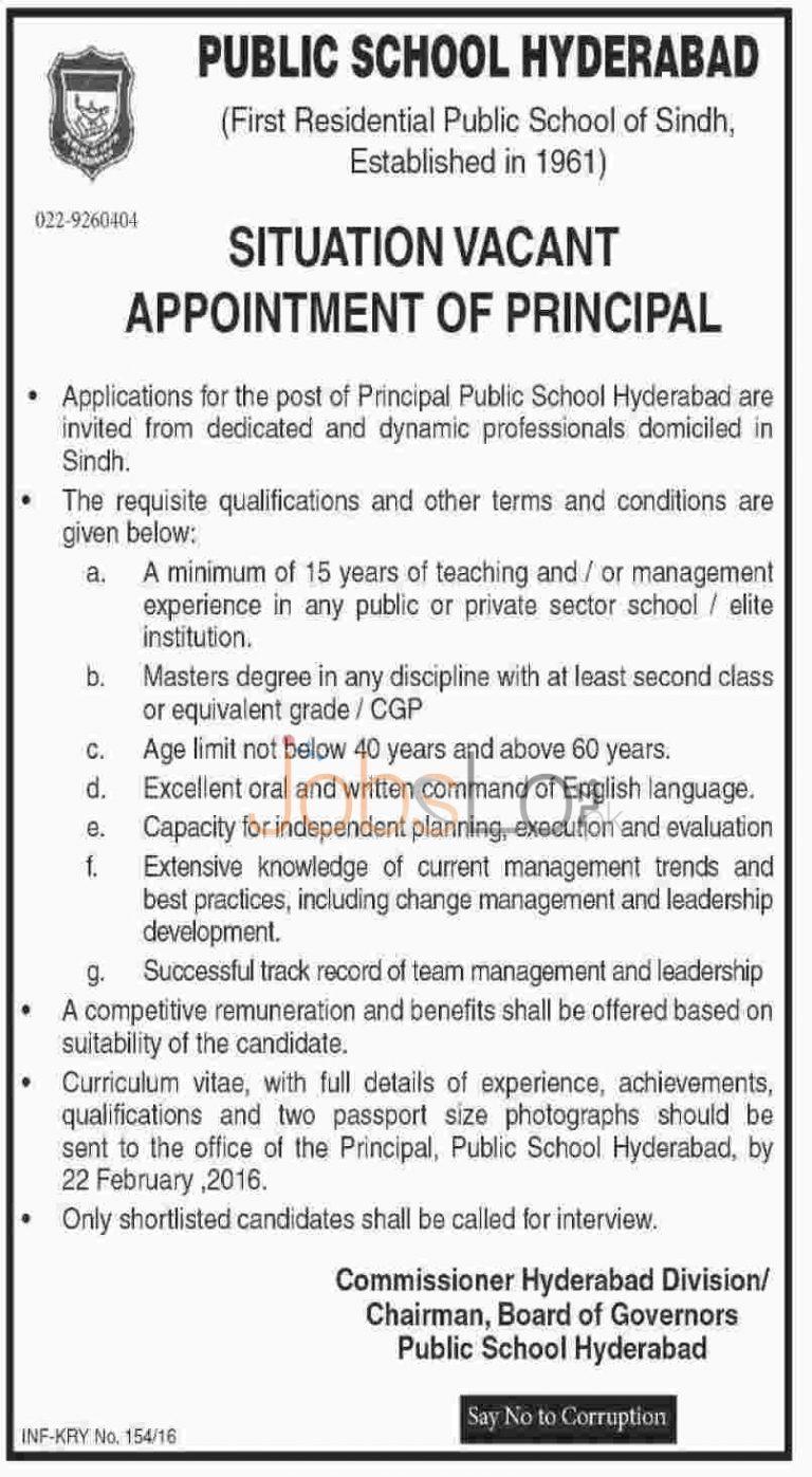 Public School Jobs in Hyderabad 2016 For Principal Latest Advertisement