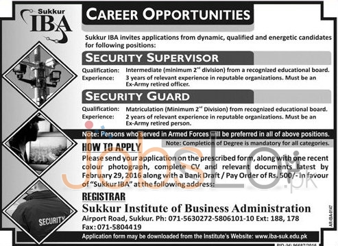 Situations Vacant in IBA Sukkur 14th February 2016  For Security Guard and Security Supervisor