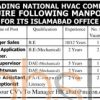 HVAC Company Jobs 08 February 2016 in Islamabad For Manager Sales Latest Advertisement