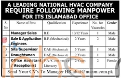 HVAC Company In Islamabad 08 February 2016 Job Vacancies