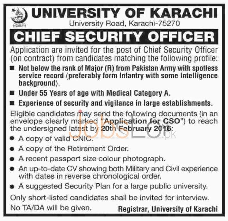 University Of Karachi Jobs February 2016 in Karachi For Chief Security Officer