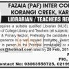 Fazaia (PAF) Inter College Korangi,Creek Jobs 2016 in Karachi For Teachers & Librarian