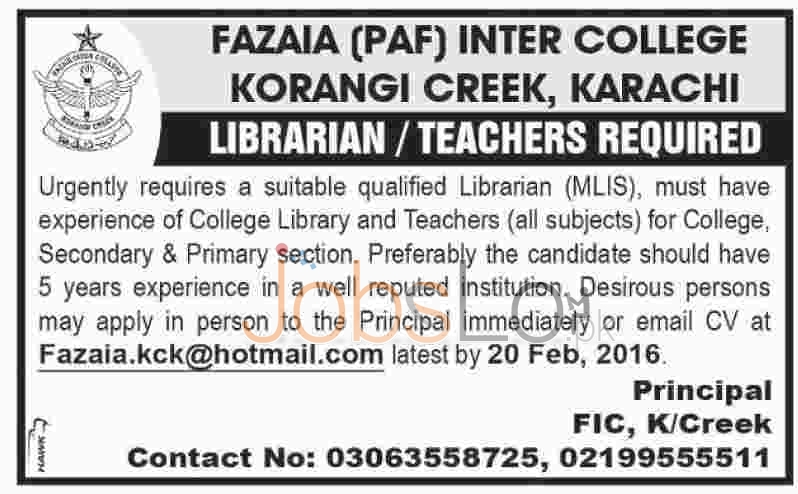 Fazaia (PAF) Inter College 2016 Karachi Job Offers For Librarian andTeachers