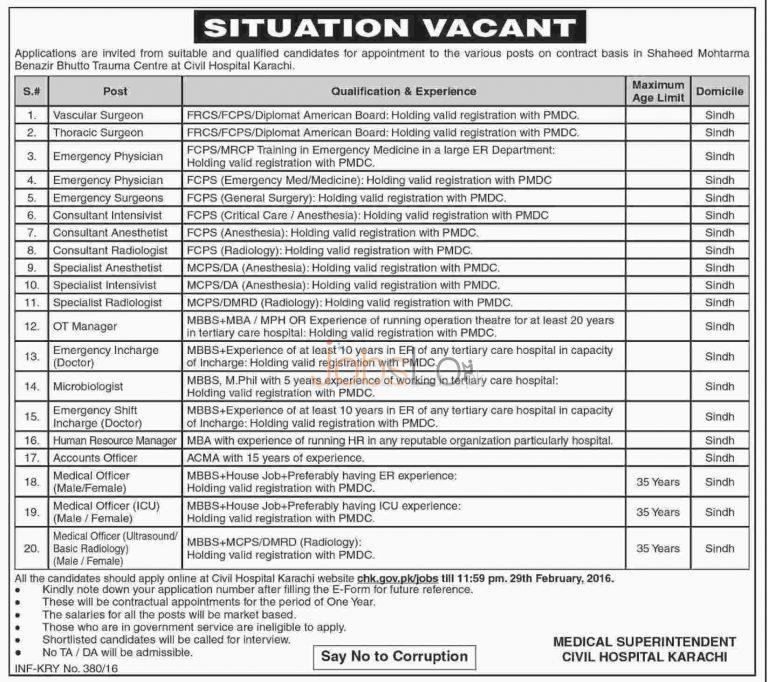 Civil Hopsital Karachi Jobs 2016 in Shaheed Mohtarma Benazir Bhutto Trauma Centre Apply Online