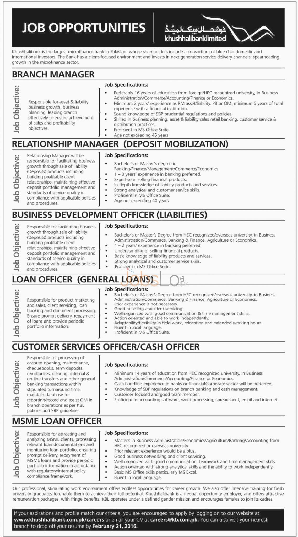 Khushhali Bank jobs February 2016 Career Opportunities