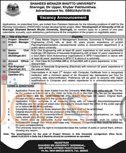 Situations Vacant in Shaheed Benazir Bhutto University KPK 2016 Application Form