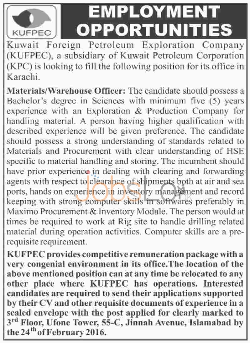 Employment Offers for Material/Warehouse Officer in Kuwait Foreign Petroleum Exploration Company Jobs 2016 in Karachi