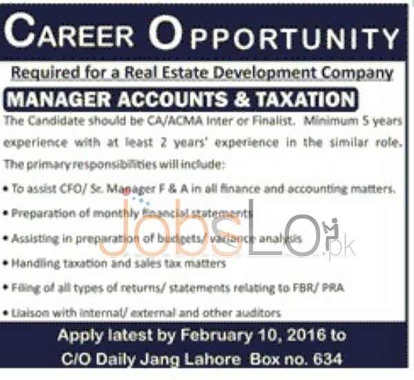 Real State Development Company Lahore 2016 for Manager Accounts and Finance
