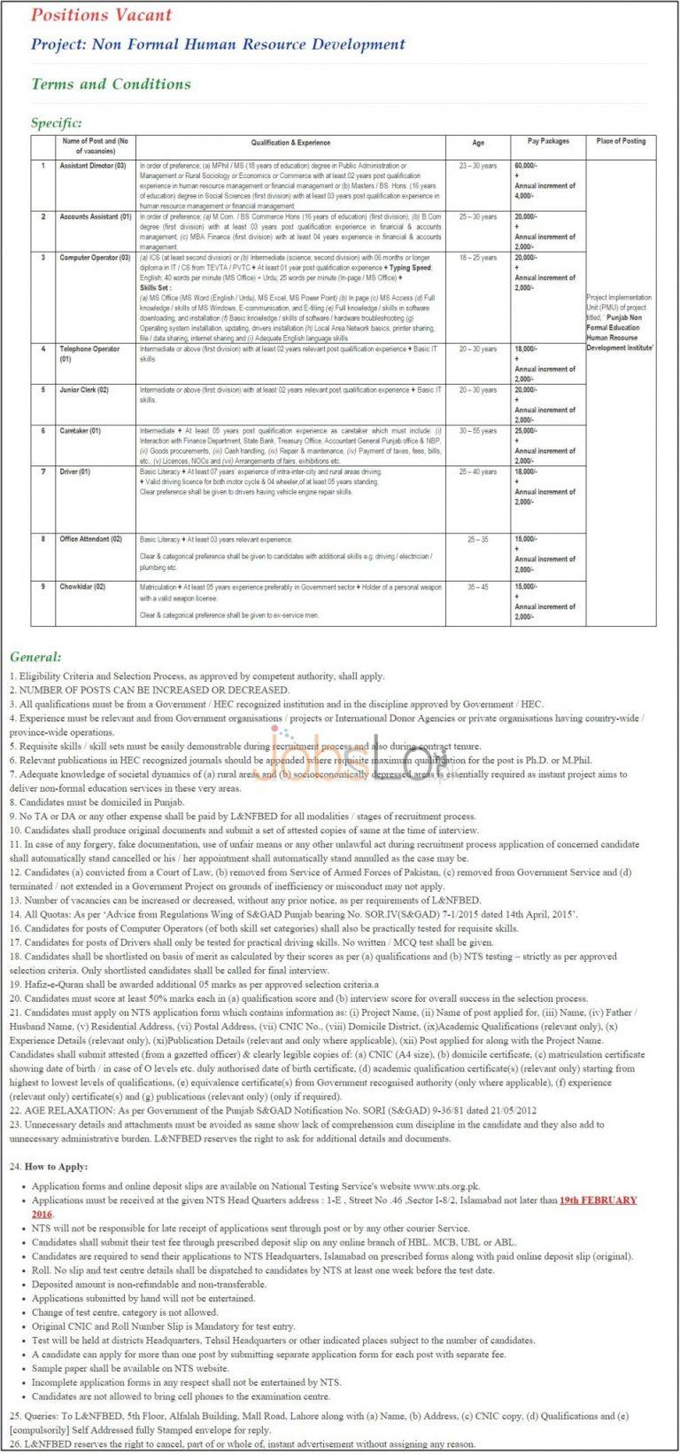 Literacy Department Punjab 2016 NTS Application Form & Sample Paper