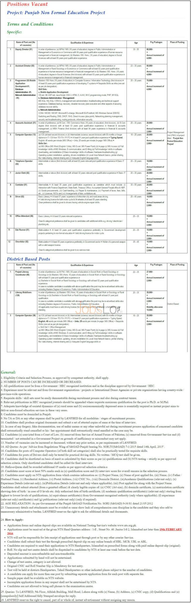 www.literacy.gop.pk Jobs Application Form 2016 NTS Latest Advertisement