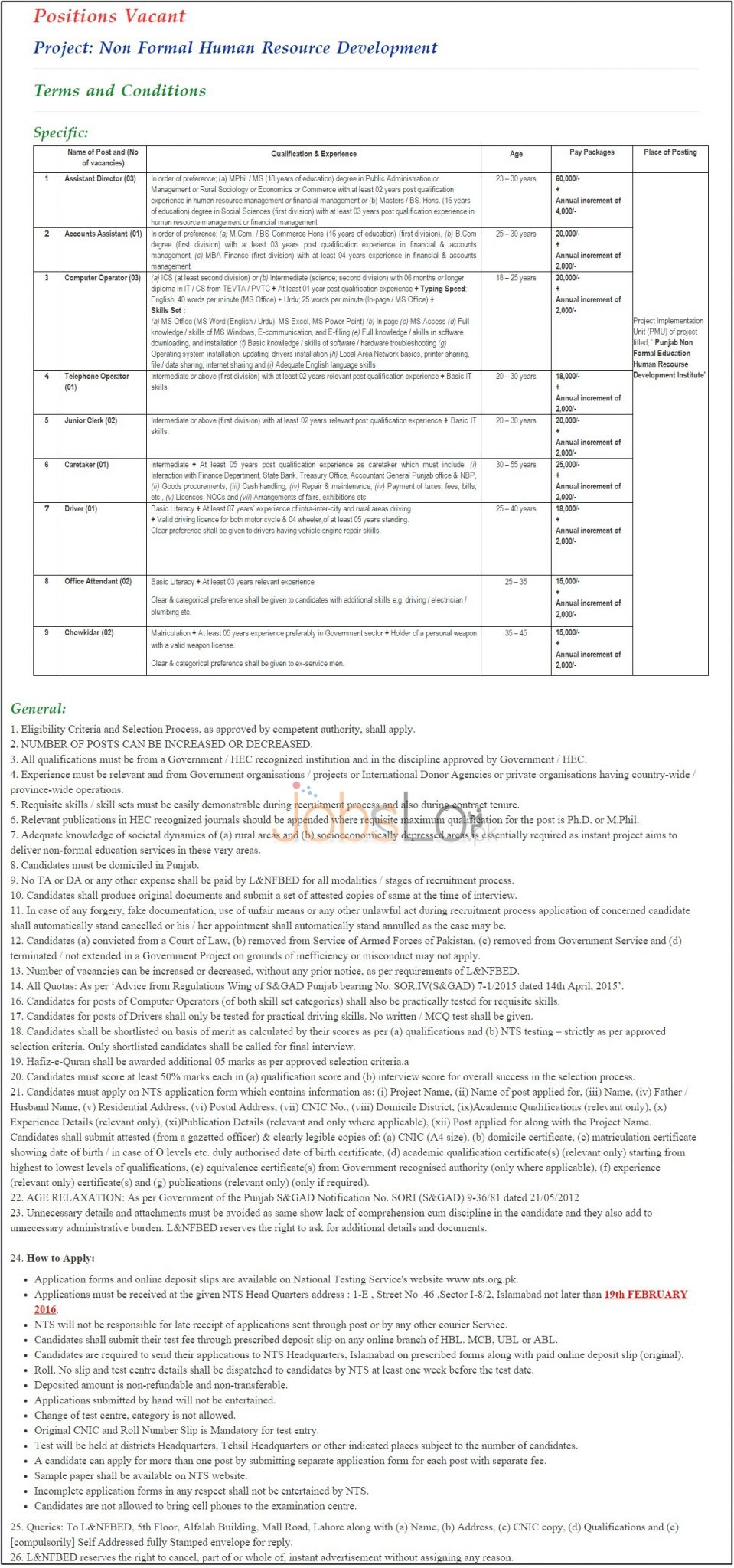 Recruitment Offers in Literacy Department Punjab 2016 NTS Application Form & Sample Paper