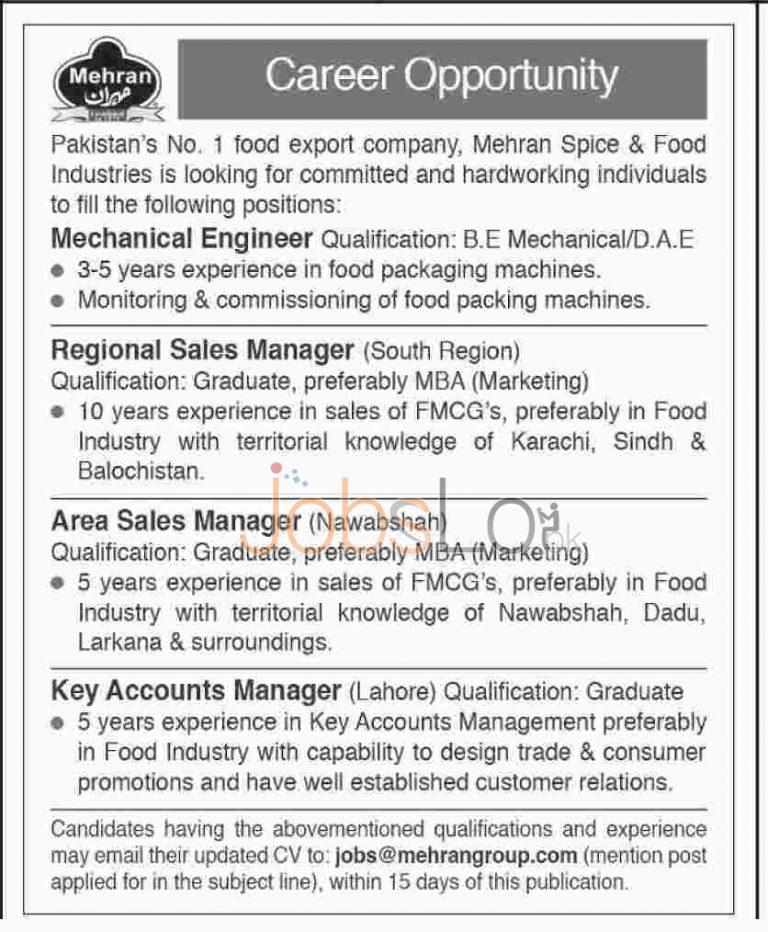 Mehran Spice & Food Industries Pakistan Jobs February 2016 in Lahore, Nawabshah & South Region