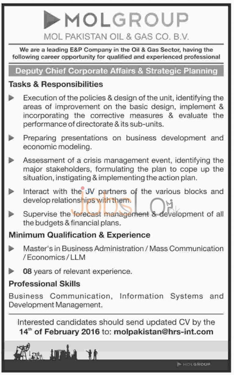 MOL Group Pakistan Oil & Gas Corporation Jobs February 2016 Career Opportunities