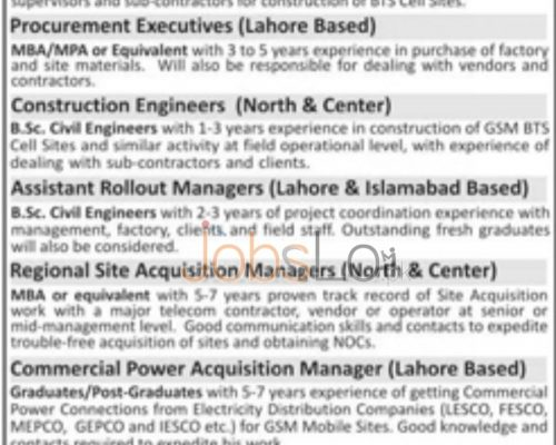 Apply Online in Nascom Construction Company Private Limited Company 2016 Lahore and Islamabad