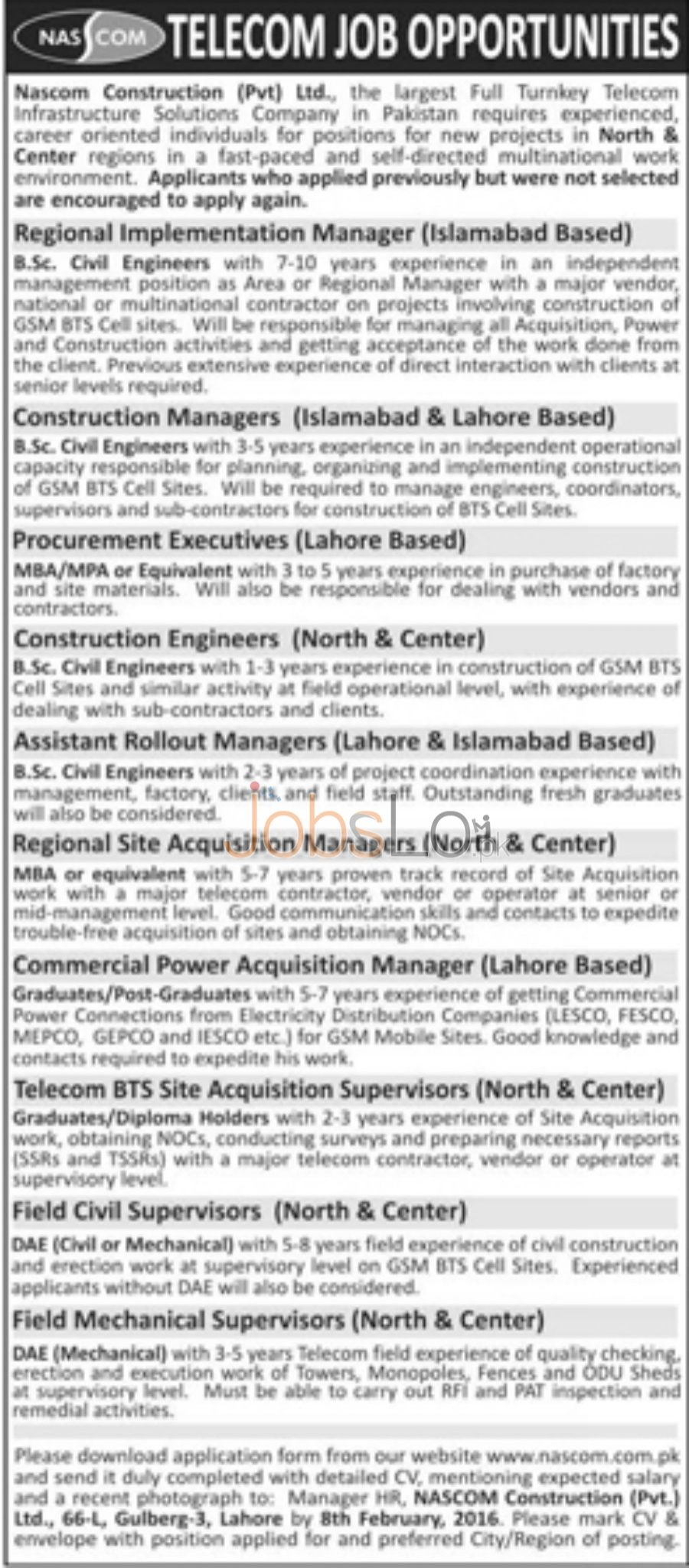Nascom Construction Company Private Limited Company Jobs in Lahore & Islamabad 2016 Apply Online