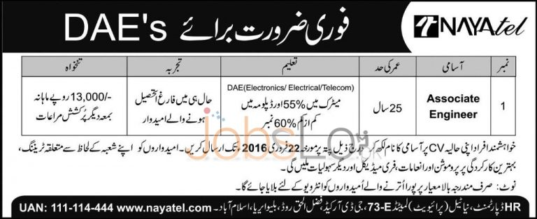 Nayatel Pvt Ltd Company Jobs 2016 For Associate Engineer Latest Advertisement