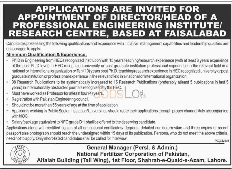 National Fertilizer Corporation of Pakistan Jobs 2016 For Director Latest Advertisement