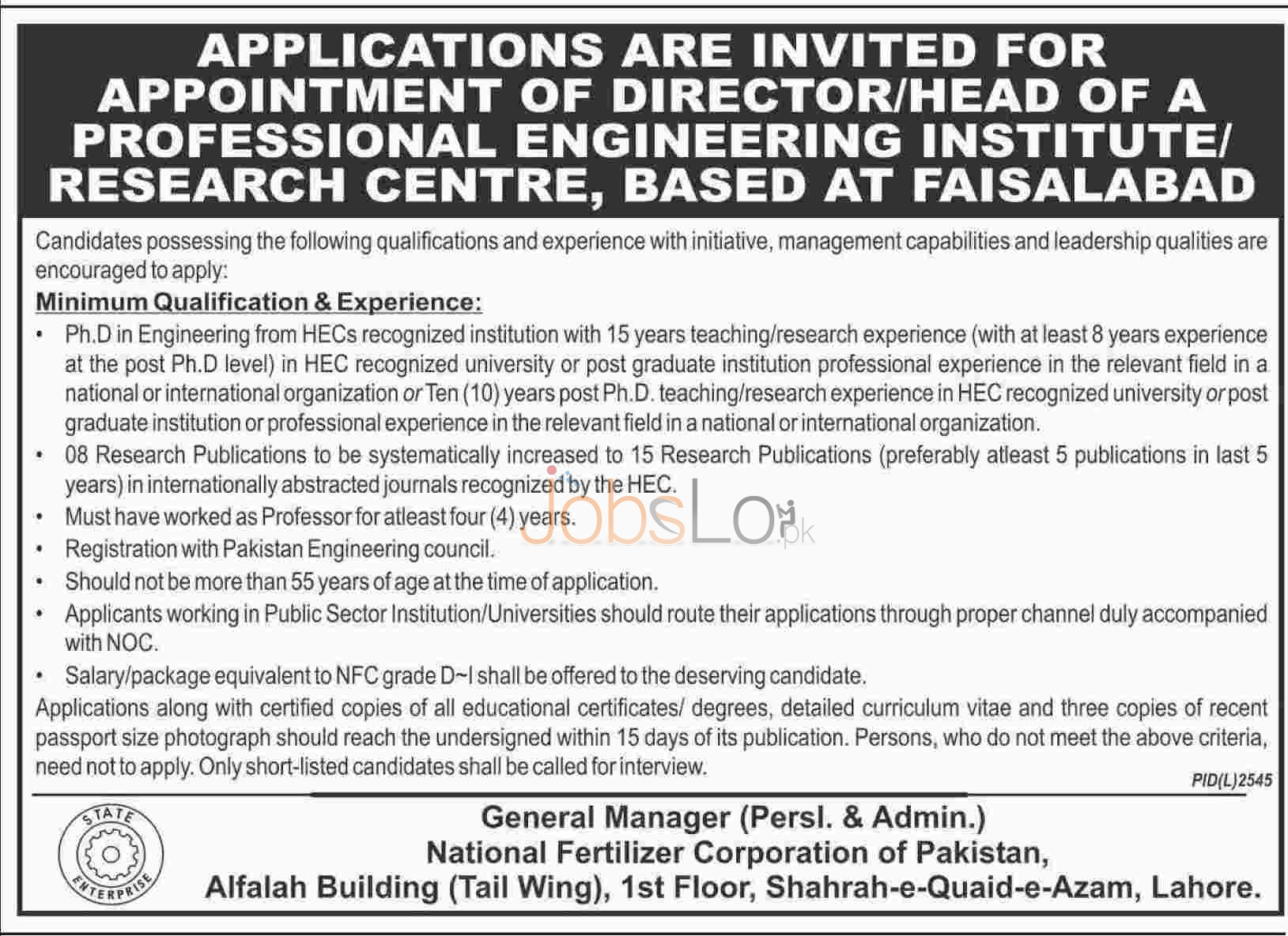 Recruitment Offers in National Fertilizers Corporation 2016 in Faisalabad For Director Career Offers