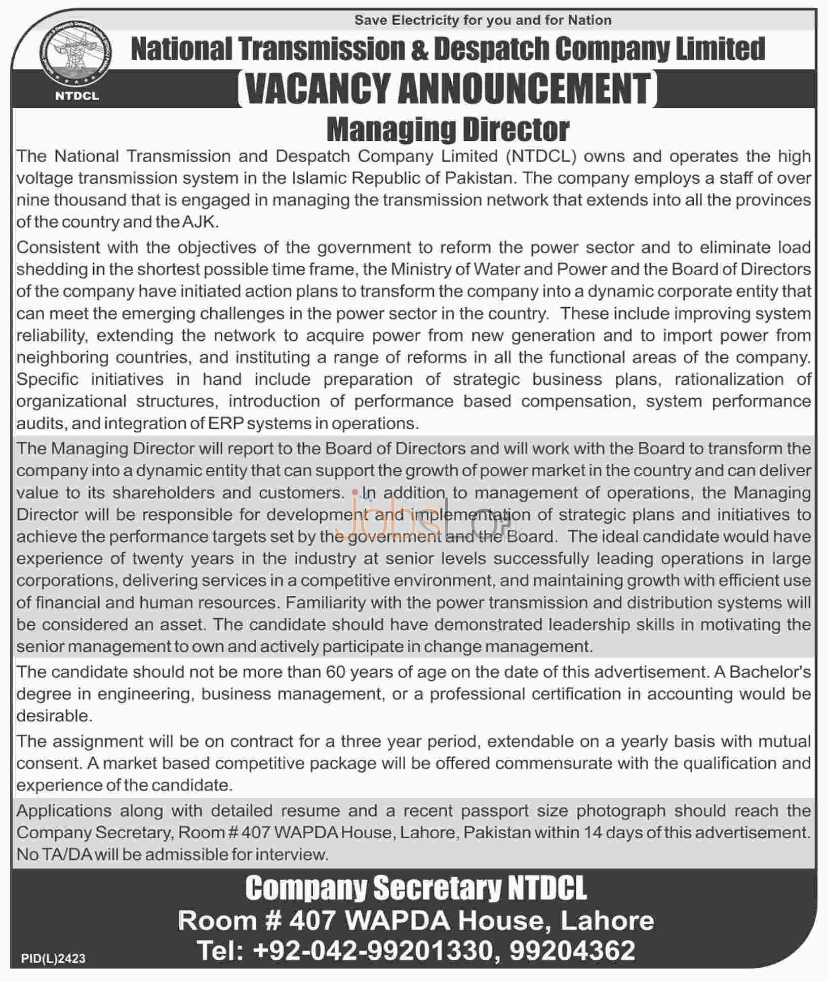Job Vacancies for Managing Director in NTDCL February 2016 in Lahore