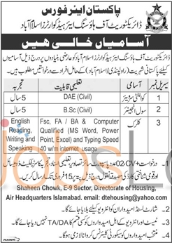 Pakistan Air Force Jobs 2016 in Islamabad & Rawalpindi For Quantity Surveyor