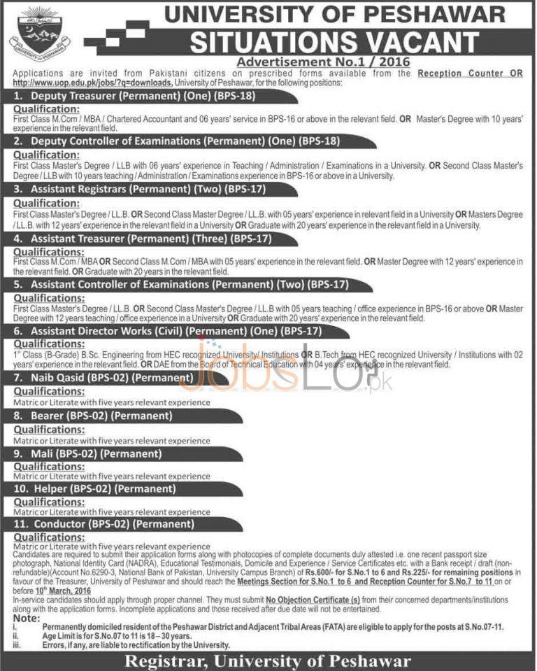 University of Peshawar Jobs 2016 in Peshawar Application Form Last Date