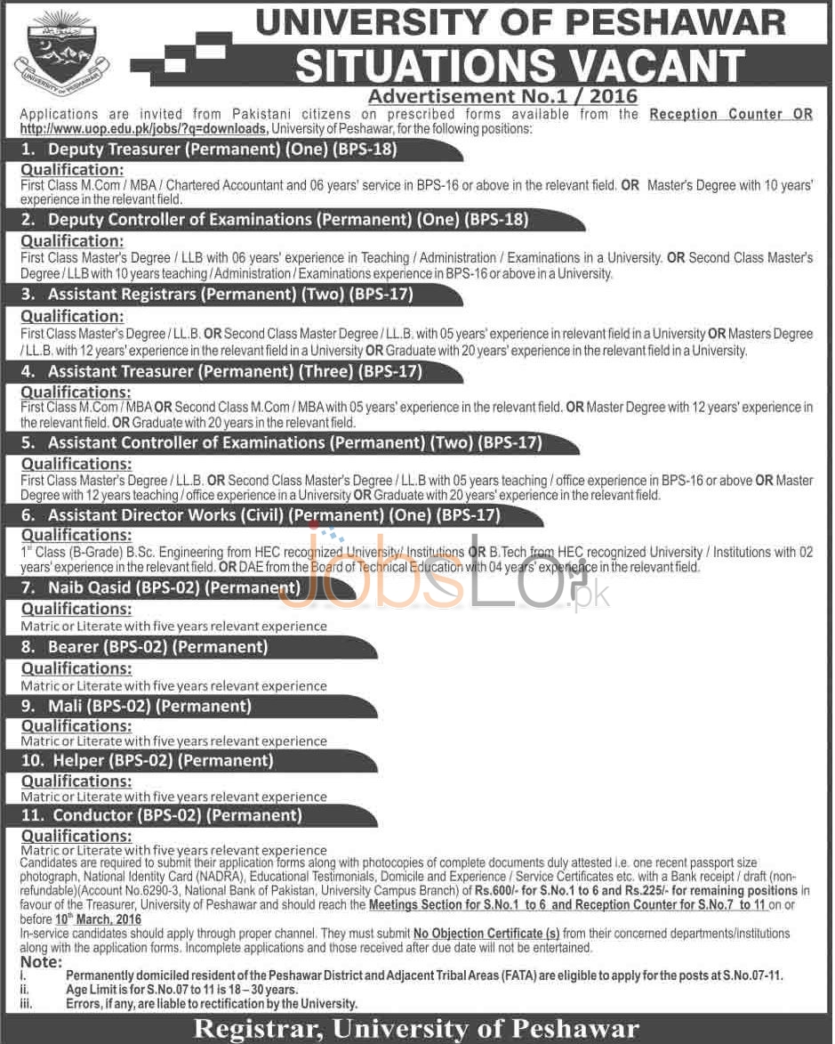 Employment Offers in University of Peshawar 2016 Application Form Career Offers
