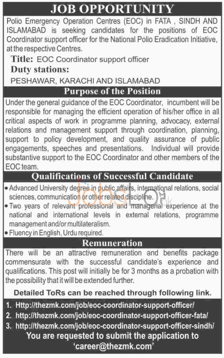 Polio Emergency Operation Centres Jobs 2016 in Sindh, FATA & Islamabad Latest Advertisement