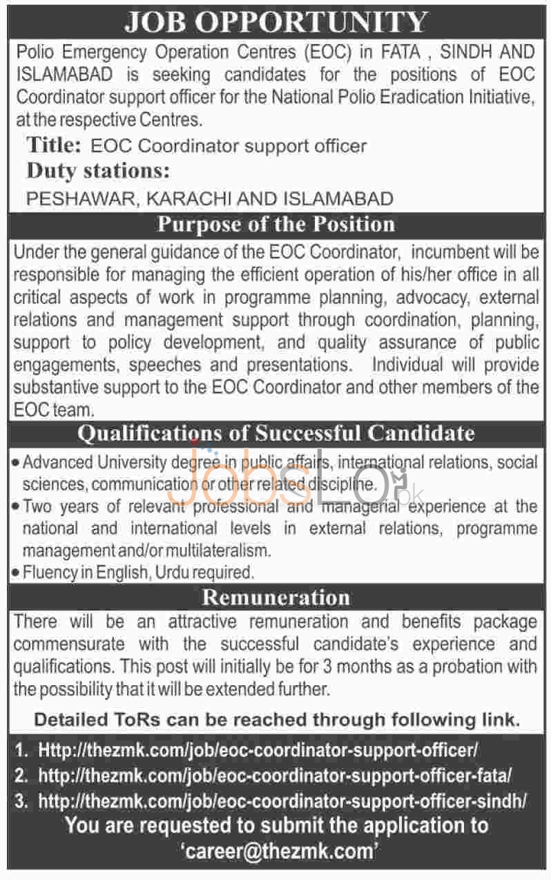 Polio Emergency Operation Centres 2016 in Sindh, FATA & Islamabad Employment Offers