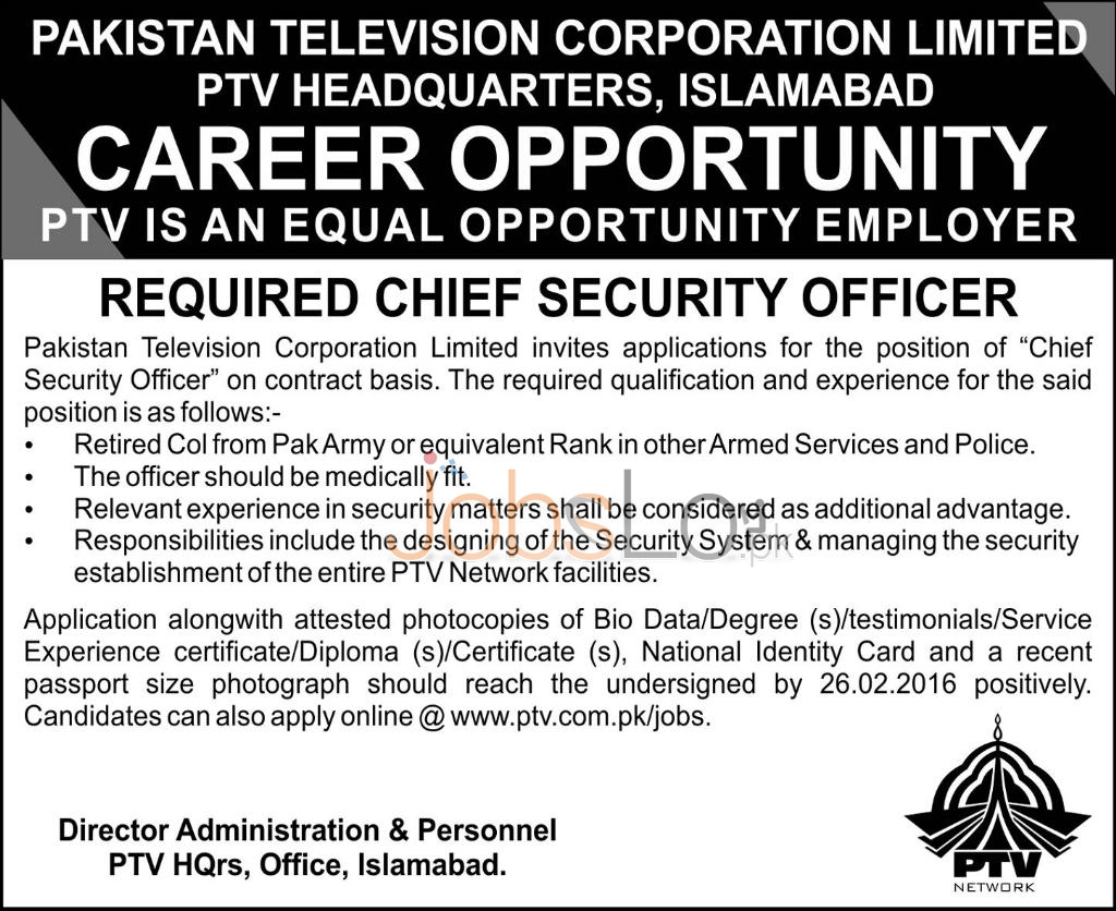 Career Offers in Pakistan Television Corporation Ltd PTV Islamabad 11th Feb 2016 Career Offers