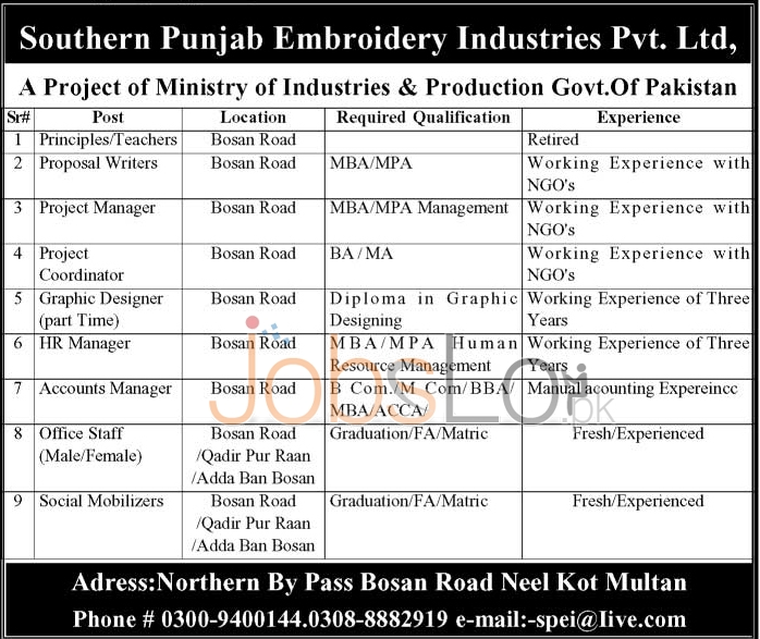 Southern Punjab Embroidery Industries Pvt Ltd Jobs 2016 in Multan Career Offers
