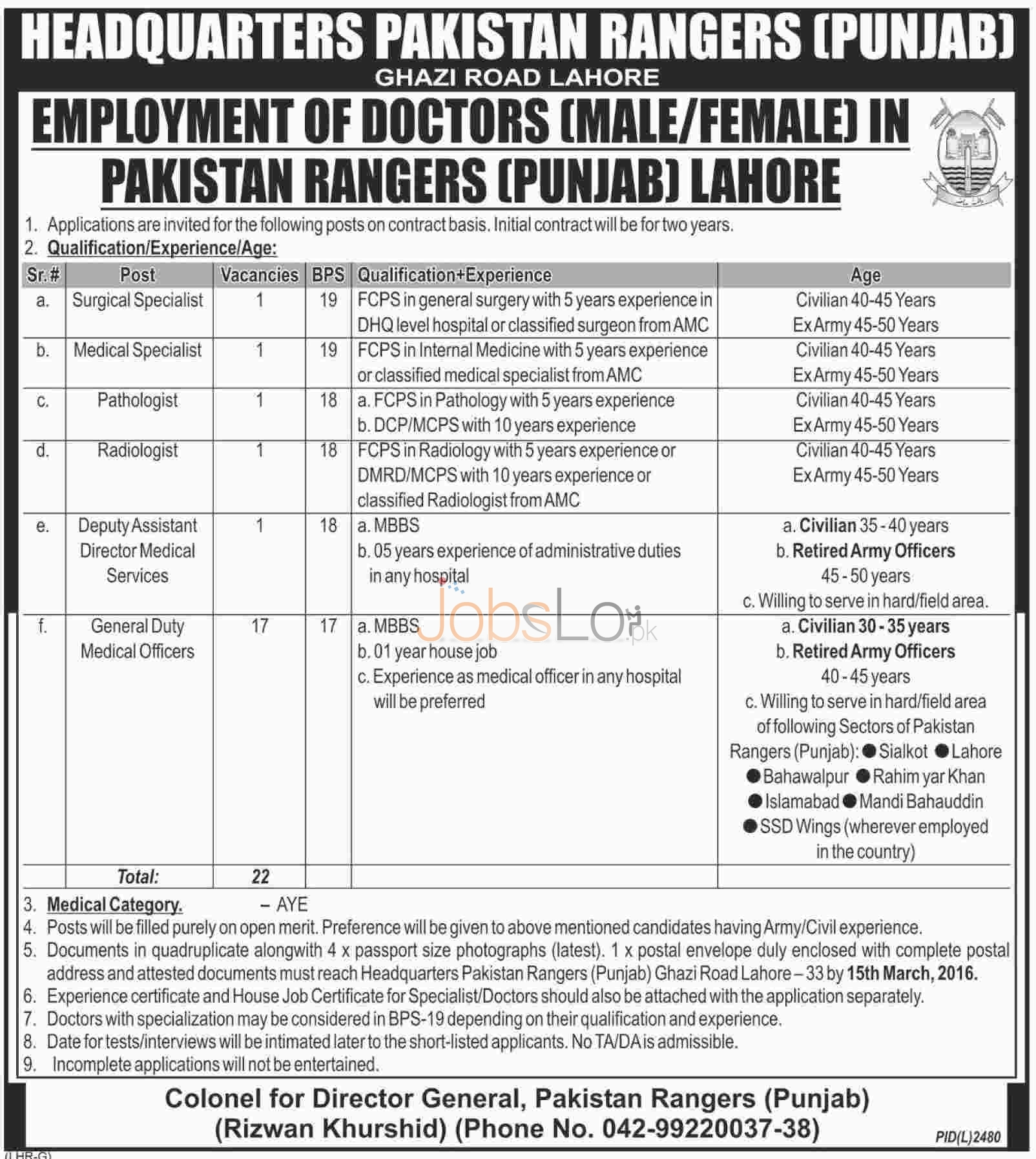Situations Vacant in Pakistan Rangers Punjab 12 Feb 2016 Lahore for Specialist Doctors Male and Females