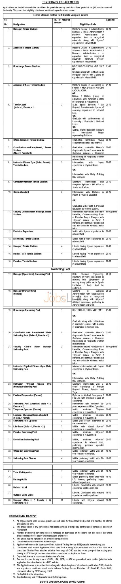 Sports Board Punjab  February 2016 NTS Jobs For Temporary Engagements in Lahore