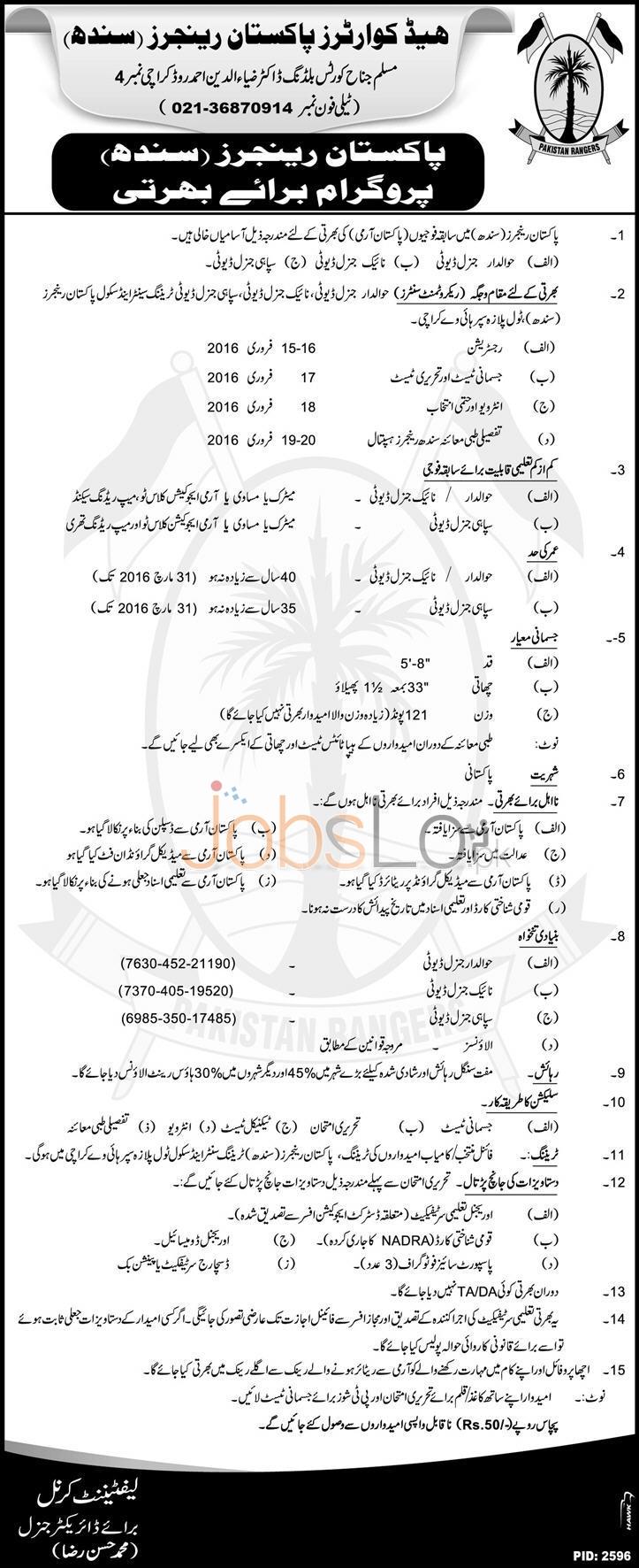 Headquarter Pakistan Rangers Sindh Vacancies in Karachi 2016