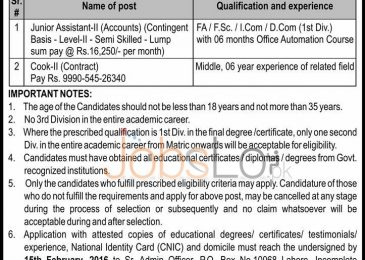 Public Sector Organization Jobs in Lahore 2016 For Junior Assistant and Cook