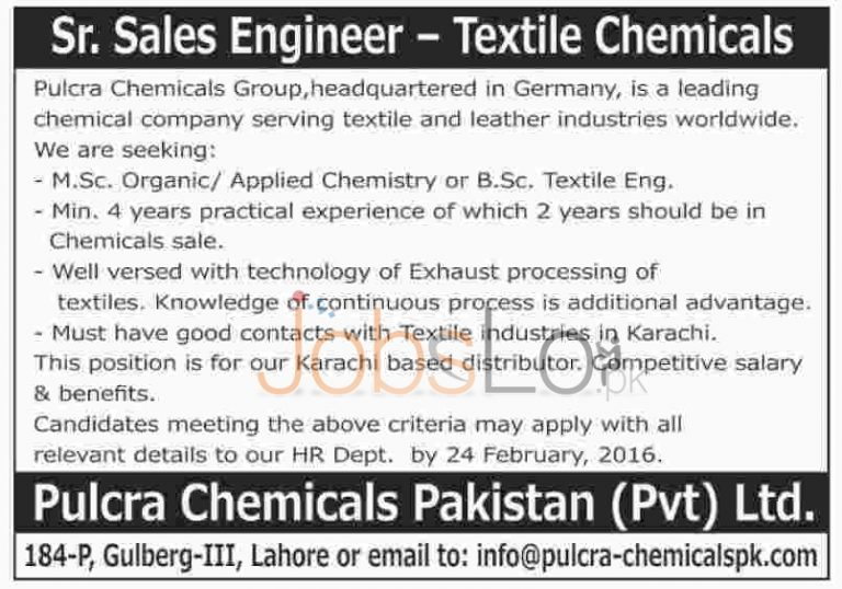 Pulcra Chemicals Group Pvt Ltd Jobs 2016 Karachi For Sr, Sales Engineer Career Opportunities