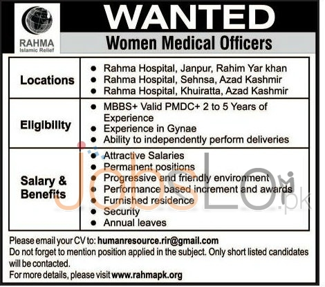 Situations Vacant for Medical Officers in Rahma Hospital Rahim Yar Khan and Azad Kashmir 2016 Latest Advertisement