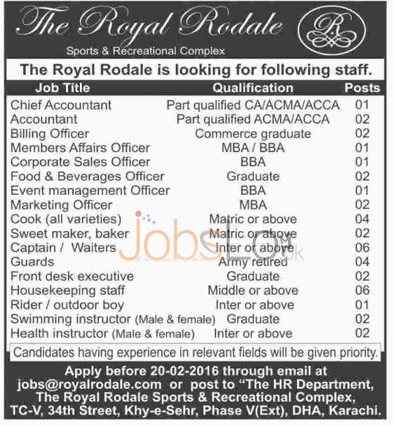 Situations Vacant in  Royal Rodale Sports Recreational Complex 2016 For Accountant, Captain, Billing Officer