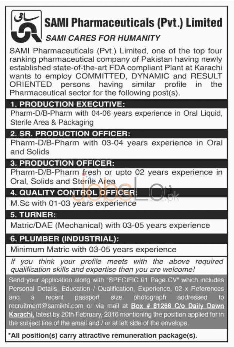 Sami Pharmaceuticals Private Ltd Jobs February 2016 in Karachi Career Opportunities