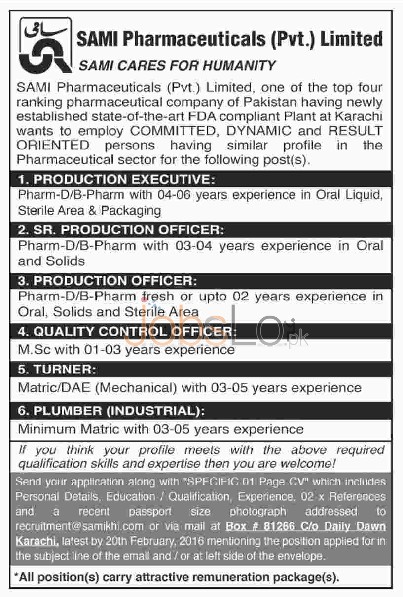 Recruitment Offers in Sami Pharmaceuticals Pvt Ltd Karachi 2016 Latest Advertisement