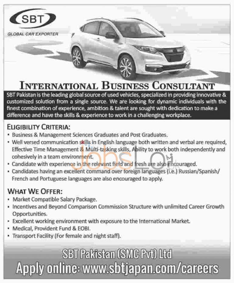 SBT Global Car Exporter Jobs 2016 in Pakistan For International Business Consultant Apply Online