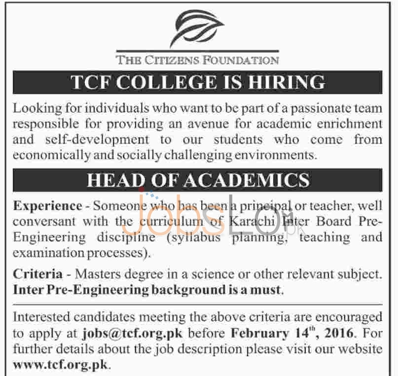 The Citizen Foundation Jobs in Karachi 2016 For Head of Academics
