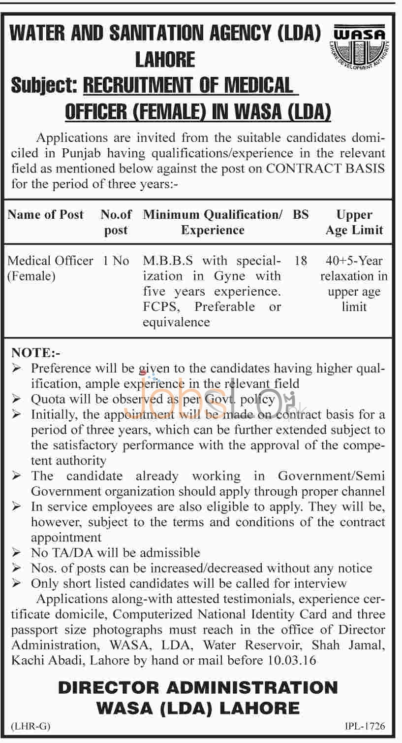 Water & Sanitation Agency (LDA) Jobs 2016 in Lahore for Medical Officer (Female) Career Oppoprtunities