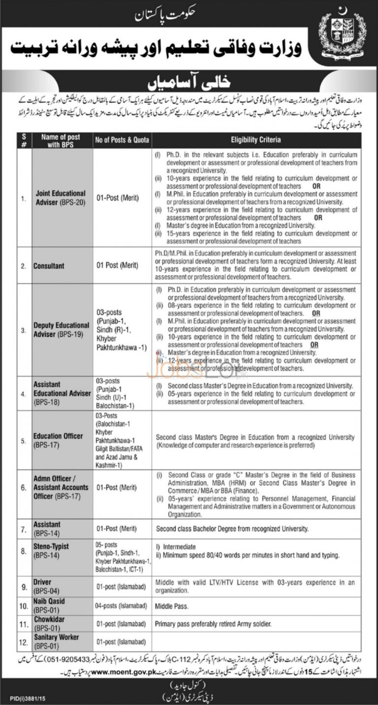 Ministry of Federal Education & Professional Training 2016 Jobs in Islamabad