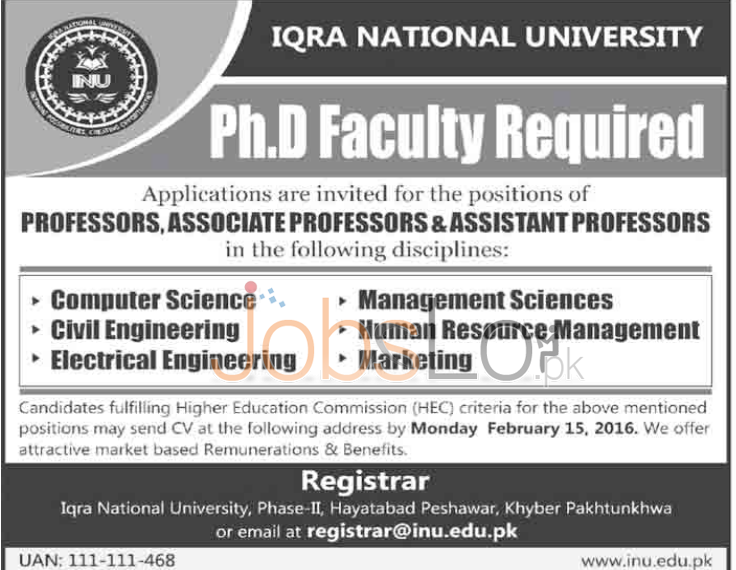 Iqra National University Jobs in Peshawar February 2016 For Ph.D Faculty Required
