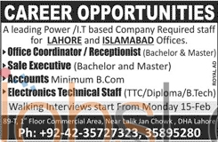 Recruitment Offers for Receptionist, Office Coordinator 2016 in Lahore & Islamabad