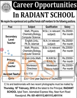 Radiant School Jobs in Islamabad 08 February 2016 For Teachers and Qaria