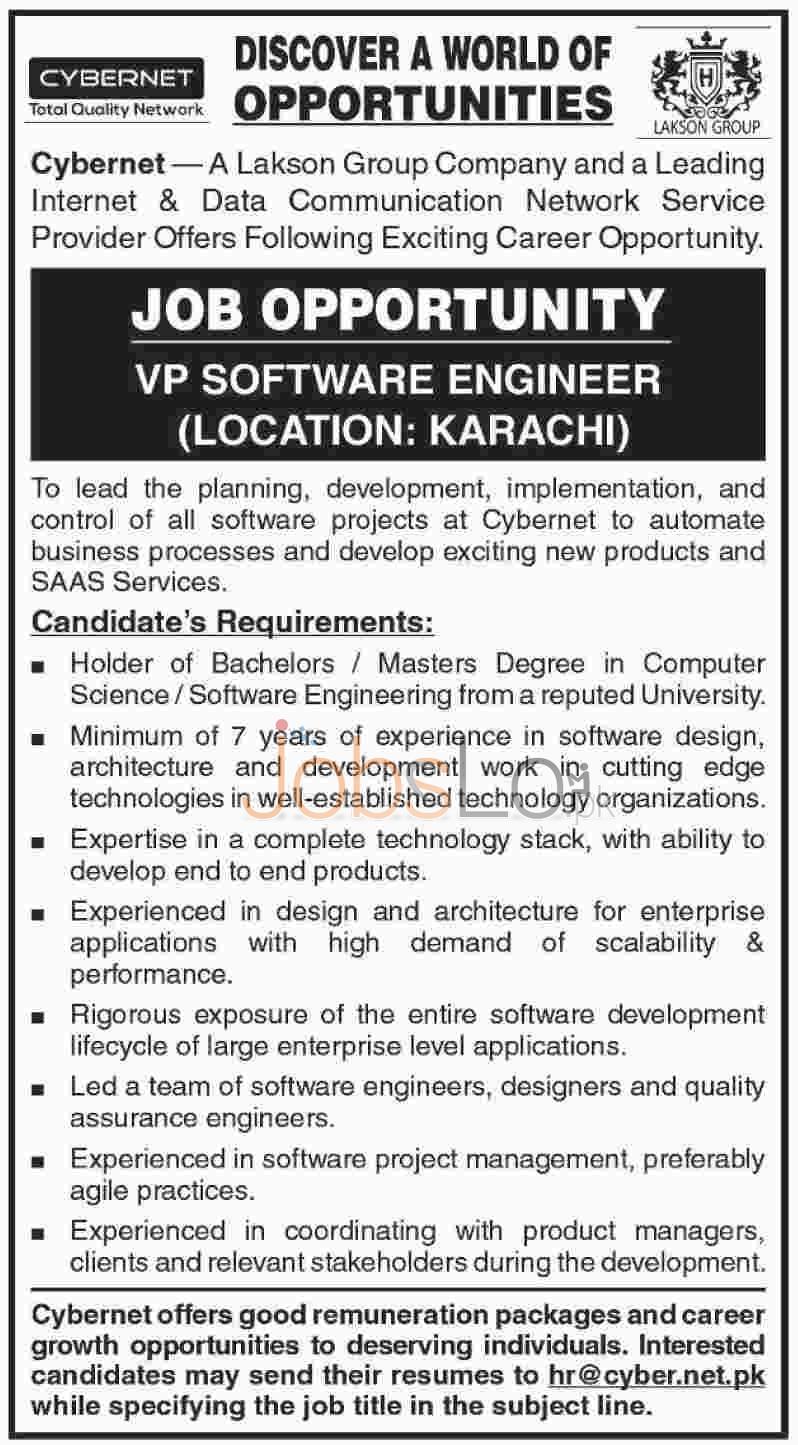 Cybernet Lackson Group Company Karachi Job Offers For VP Software Engineer
