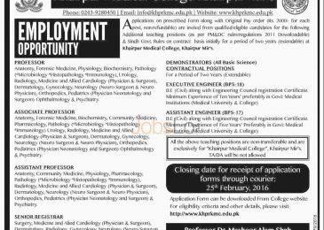 Khairpur Medical College Jobs February 2016 Khairpur Mir's For Professor Apply Online
