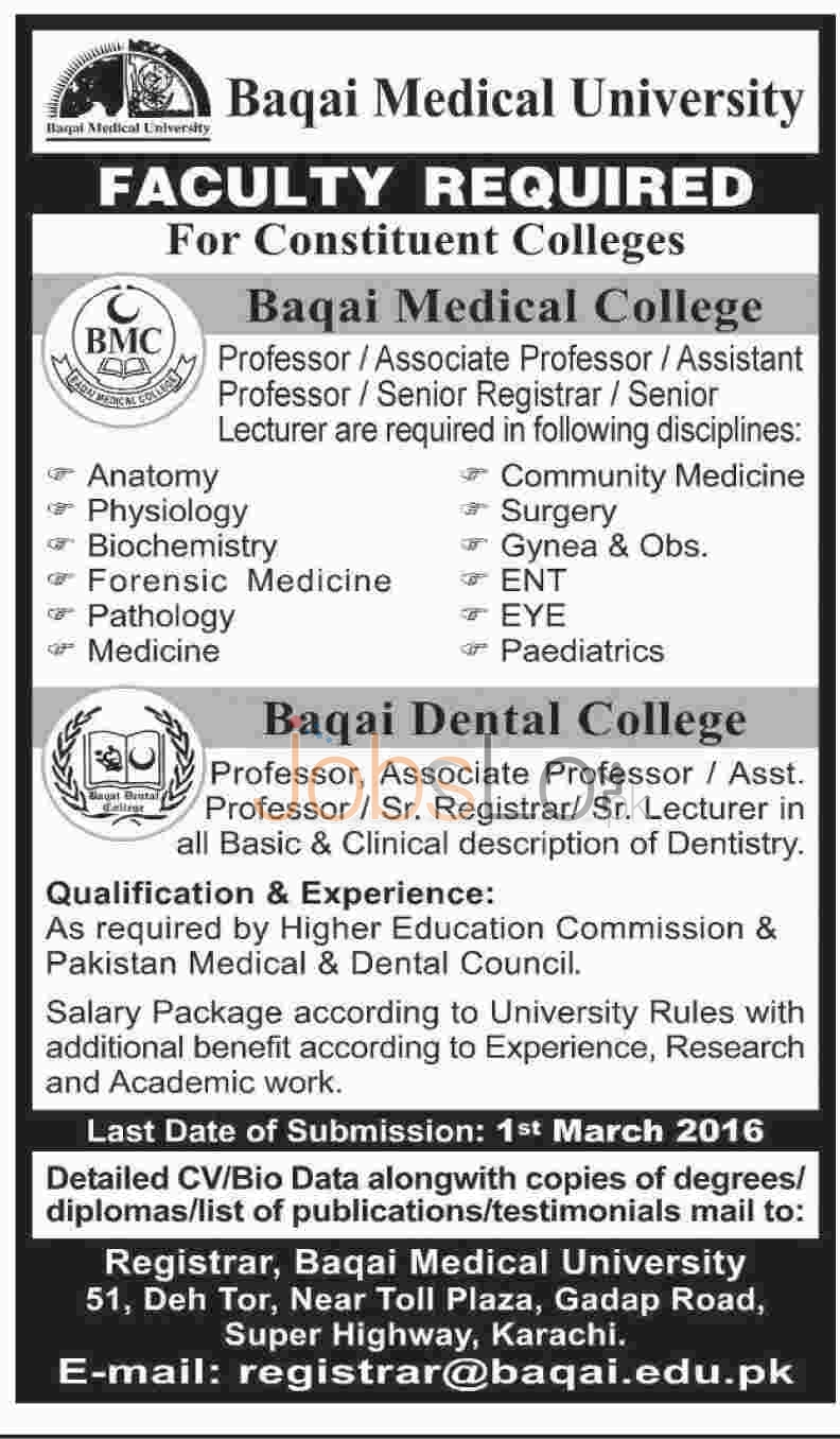 Faculty Required in Baqai Medical University Karachi 2016 Latest Advertisement