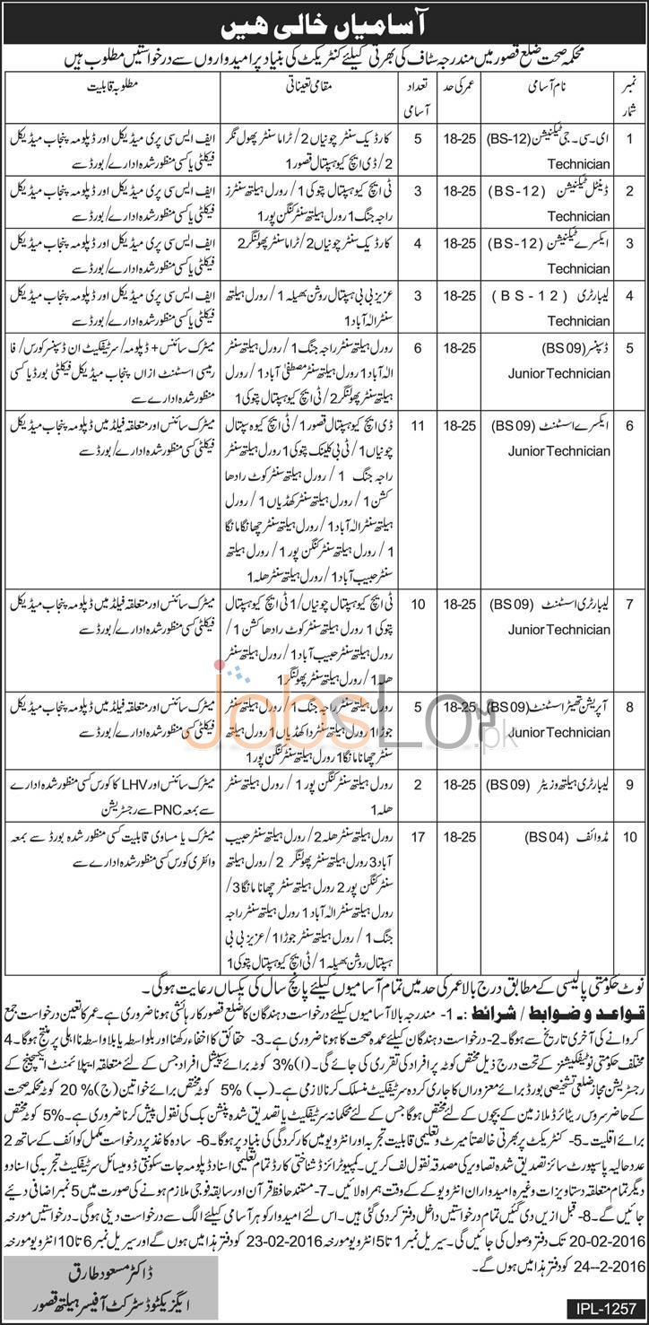 Recruitment Offers in Health Department 05 February 2016 in Kasur